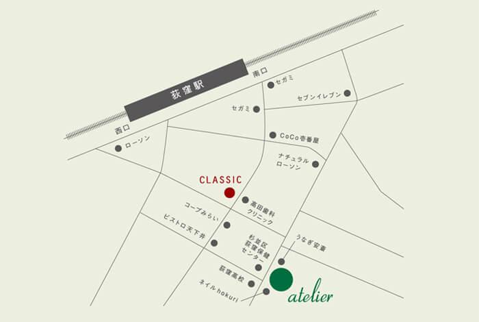 荻窪の美容室(美容院)ジユーム アトリエ&クラシックの地図