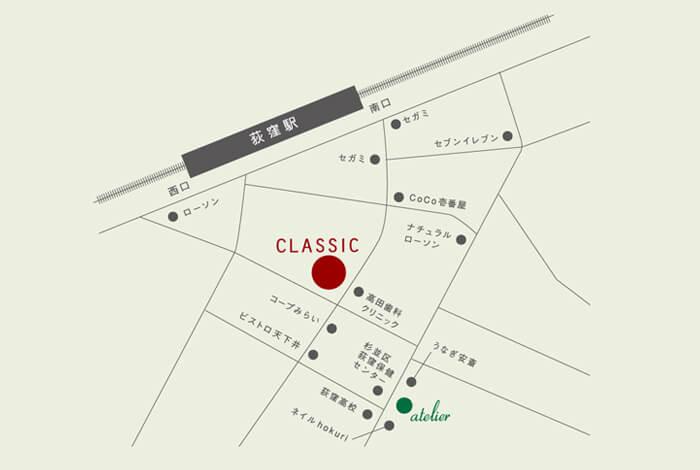 荻窪の美容室(美容院)ジユーム アトリエ&クラシックのmap